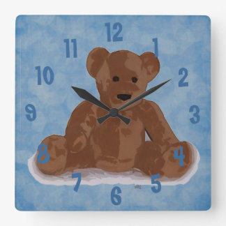 Sitting Teddy Bear (blue background) Square Wall Clock