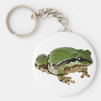 Sitting Tree Frog Basic Round Button Keychain