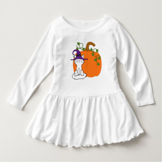 Sitting White Cat with Halloween Pumpkin Shirts