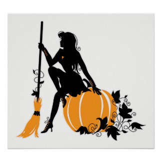 Sitting witch with broom and pumpkin poster