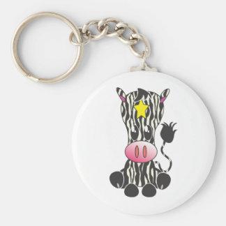 Sitting Zebra Basic Round Button Keychain