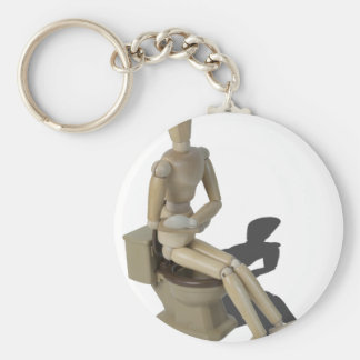 SittingOnToiletWithPain082414 copy Basic Round Button Keychain