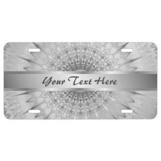 Siver Mandala Geometric Personalize License Plate