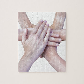 Six arms unite with hands on each other jigsaw puzzle