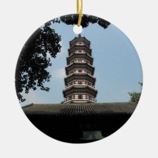 six banyan trees pagoda temple round ceramic ornament