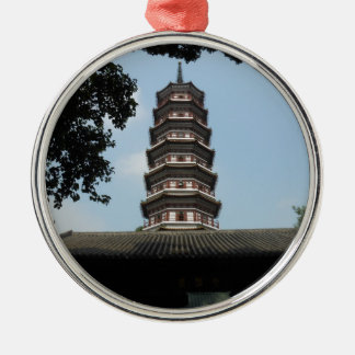 six banyan trees pagoda temple Silver-Colored round ornament