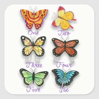 Six Colorful Artsy Butterflies with Number Words Square Sticker