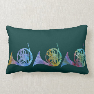 Six Colorful French Horns Lumbar Pillow