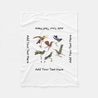 Six Colorful Hummingbirds Fleece Blanket