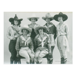 Six cowgirls in hats and sashes. postcard