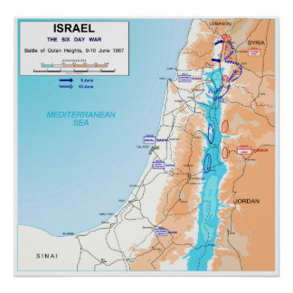 Six Day War Battle of Golan Heights Map 1967 Posters