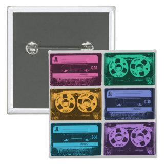 Six enregistreurs à cassettes de vieille école badges avec agrafe