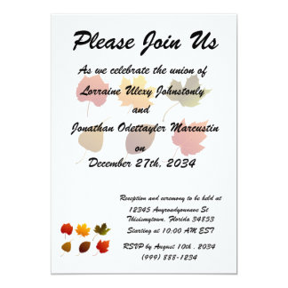 """six fall colour leaves nature image graphic.png 5"""" x 7"""" invitation card"""