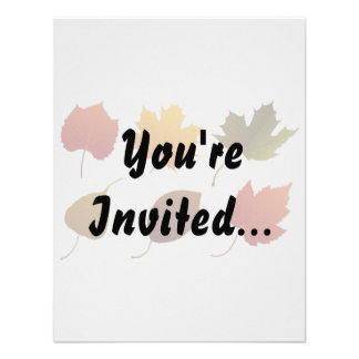 six fall colour leaves nature image graphic png personalized invites