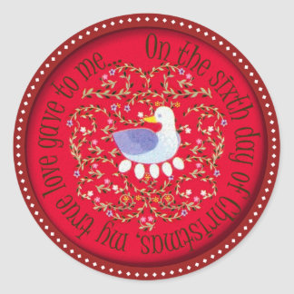 Six geese alaying classic round sticker