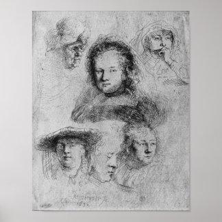 Six heads with Saskia van Uylenburgh Print