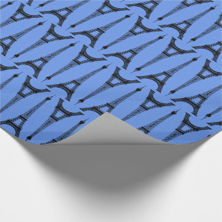 Six Inch Black Eiffel Towers on Cornflower Blue Wrapping Paper