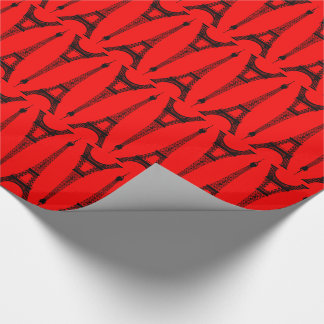 Six Inch Black Eiffel Towers on Red Wrapping Paper
