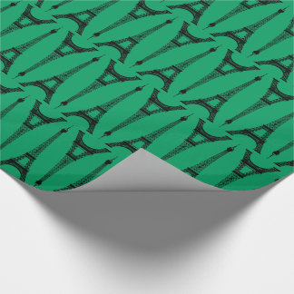 Six Inch Black Eiffel Towers on Shamrock Green Wrapping Paper