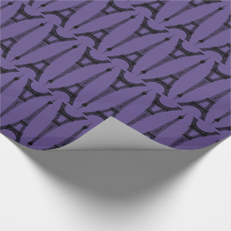 Six Inch Black Eiffel Towers / Ultra Violet Purple Wrapping Paper