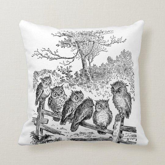 Six Little Owls Sitting on a Broken Down Fence Throw Pillow