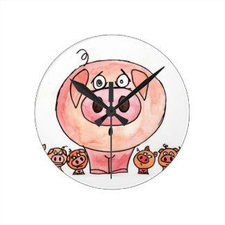 Six Little Pigs Round Clock