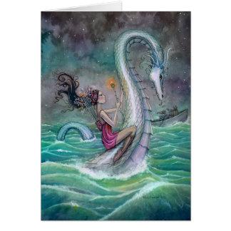 Six of Wands Tarot Fantasy Art Sea Serpent Card
