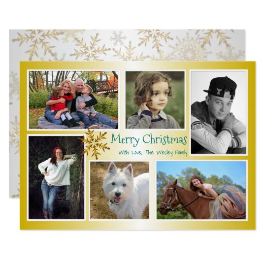 Six Photo Collage Family Christmas Gold Card