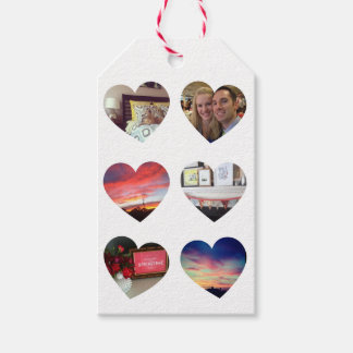 Six Photo Hearts Custom Gift Tag