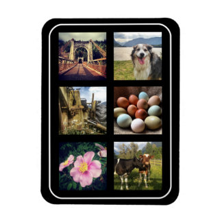 Six Photos Instagram Collage Rectangular Photo Magnet