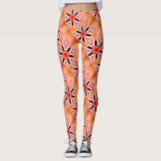 six-point red stars peach leggings