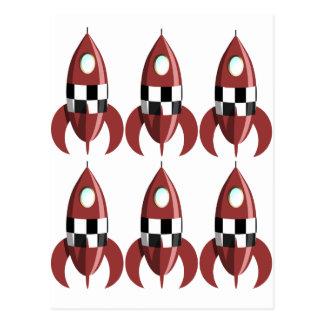 Six Red Rockets Postcard