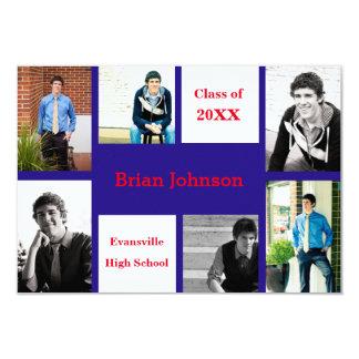 Six/Seven Photos Blue/Red - 3x5 Grad Announcement