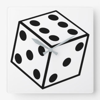 Six Sided Dice Square Wall Clock