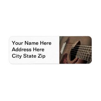 Six Sting Acoustic Guitar Custom Return Address Labels