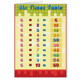 Six Times Table Note Cards