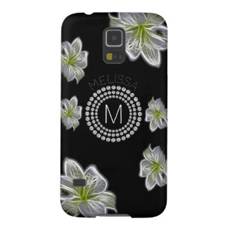 Six White Flowers with Diamonds and Your Name Galaxy S5 Case