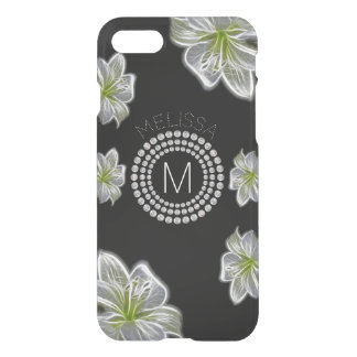 Six White Flowers with Diamonds and Your Name iPhone 8/7 Case