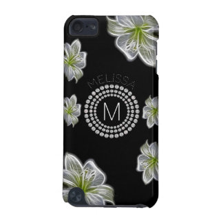 Six White Flowers with Diamonds and Your Name iPod Touch (5th Generation) Cases
