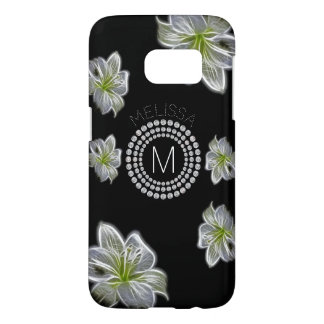 Six White Flowers with Diamonds and Your Name Samsung Galaxy S7 Case