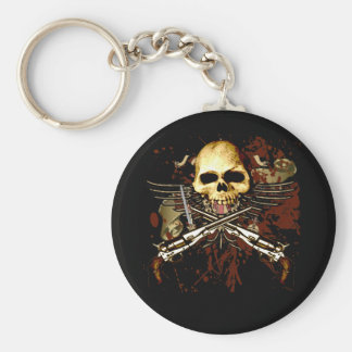 Sixgun Skull Basic Round Button Keychain
