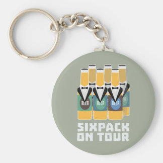 Sixpack Beer on Tour Zn1pu Basic Round Button Keychain