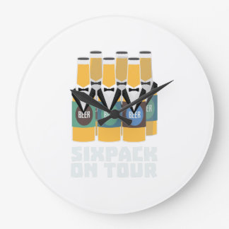 Sixpack Beer on Tour Zn1pu Large Clock
