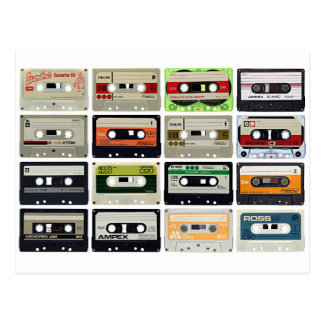 Sixteen Audio Cassettes Postcard