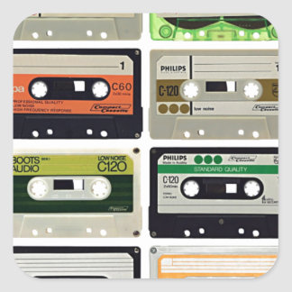 Sixteen Audio Cassettes Square Sticker