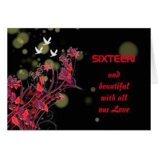 Sixteen Birthday Flower Bird Greetings Card