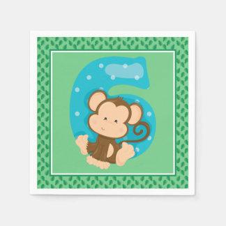 Sixth Birthday | Safari Animals | Monkey Paper Napkins