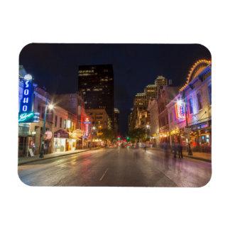 Sixth Street At Dusk In Downtown Austin, Texas Rectangular Photo Magnet