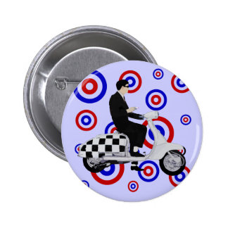 Sixties check mod scooter rider 2 inch round button