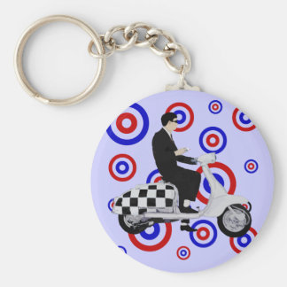 Sixties check mod scooter rider basic round button keychain